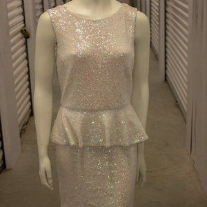 Top Shop Tall Iridescent Sequin Peplum Dress